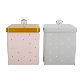 Square kitchen storage canister metal