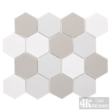 Mixed Color Hexagon Recycled Glass Mosaic Wall