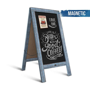 Freestanding Wooden Menu Display Sign 40*20inch Sturdy Sandwich Board A Frame Restaurant Message Board