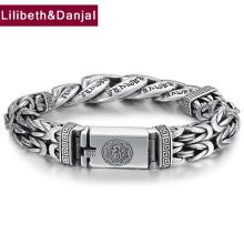 Weave Men Bracelet Bangle Pure 925 Sterling Silver Buddha Mantra Indian Bracelet perle homme fine Jewelry 2020 New Arrival B02