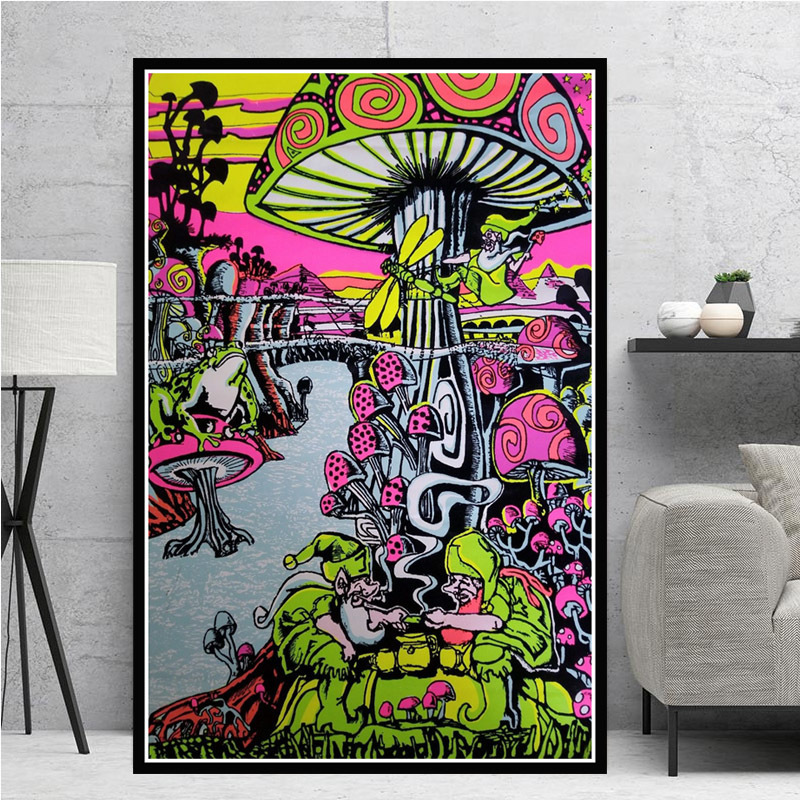 Trippy Visual Mushroom Mind Education Posters and Print Psychedelic Magic Black light Wall Art Canvas Painting Home Decor