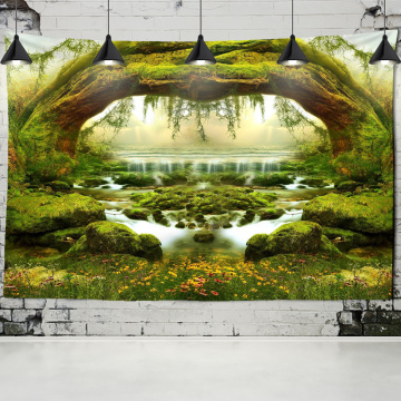 Natural Scenery Wall Tapestry Arched Tree Hole Psychedelic Carpet Wall Cloth Tapestries Tenture Hippie Mandala Tapiz Landscape