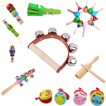 2020 Toddlers Wooden Baby Rattle Toy Musical Instruments Music Wooden Handbell Toys Baby Colorful Music Sounding Toy