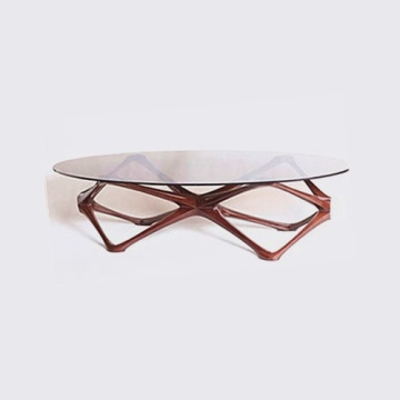 Light Luxury Wooden Frame Glass Tea table