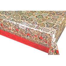 Double Face Emboss printed Gold Silver Tablecloth Square