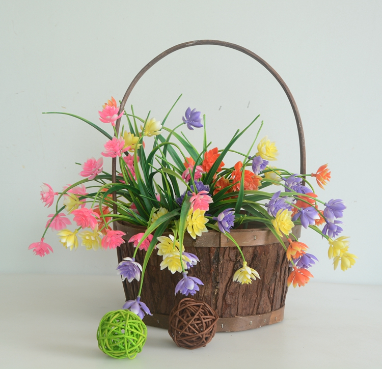 Round nature wood bark handicraft gift basket-4