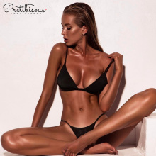 Black strappy top style women bikini bathing suits