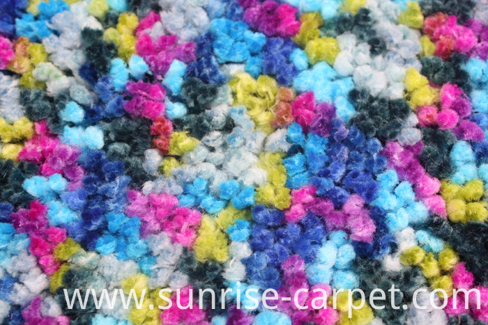 Polyester Rugs with spac dyed yarn blue and pink