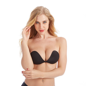 invisible push up wireless strapless silicone cloth bra