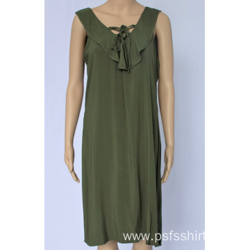 Women Casual Dress with Flounce Neck