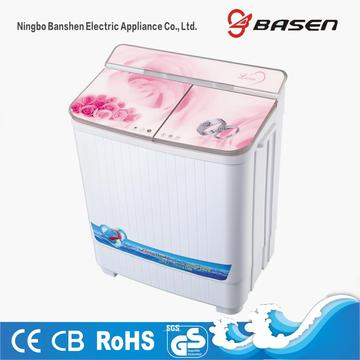 Pink Flower Glass Cover Twin Tub 4KG Washing Machine