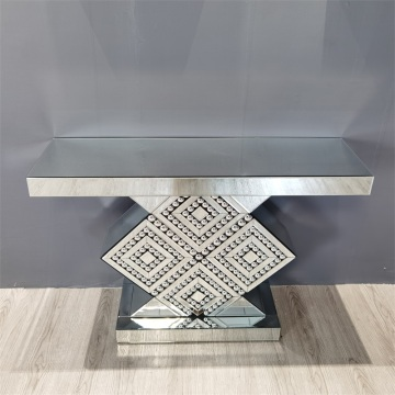 sparkling mirror glass console table