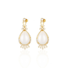 White Jade Sterling Silver Gold Plated Earrings