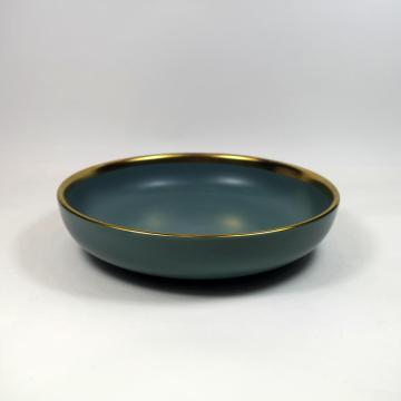 Stoneware Dinnerware Set w/Gold Rim