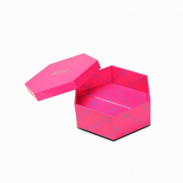 Christmas Pink Collapsible Hexagonal Paper Gift Box