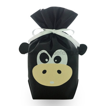 Black Cow Non-woven Ribbon Drawstring Gift Bags