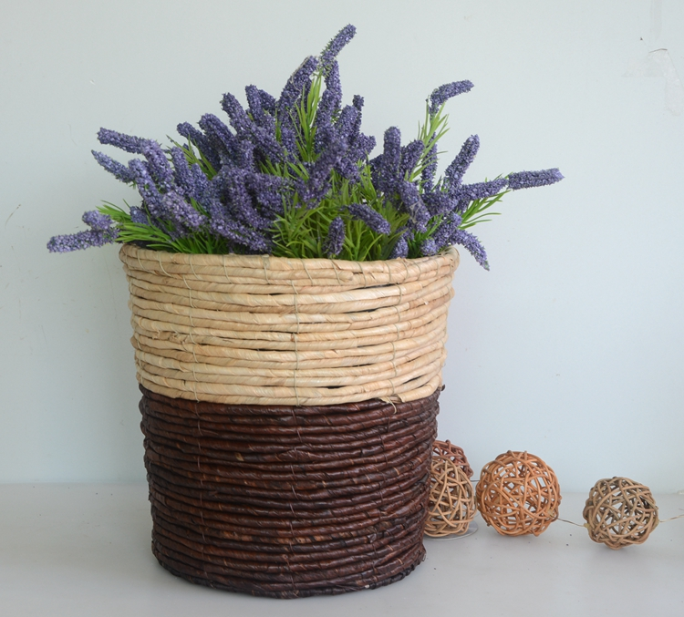 Round two-tone maize rope handicraft basket-4