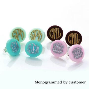 Monogram Jewelry 16mm Post Earrings Mint Acrylic Clover Disc Blank Stud Earrings for Women Round Monogram Earrings