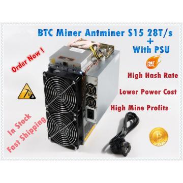 Used BTC BCH 7nm Asic Miner AntMiner S15 28T SHA256 Miner Better Than BITMAIN S9 S9j Z9 WhatsMiner M3 M10 in stock ship