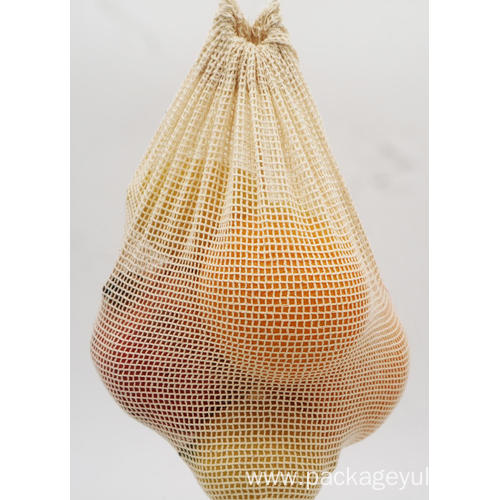 cotton mesh drawstring bag for shopping
