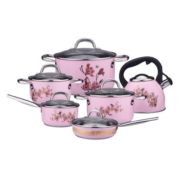 10 piece pink color cooker SS cookware sets