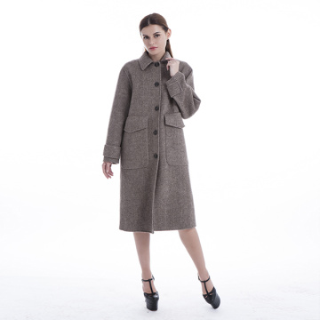 Large pocket herringbone cashmere coat