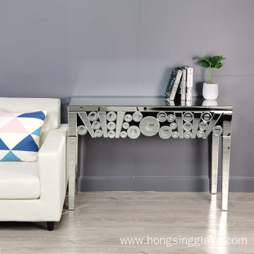 clear mirror round spot console table