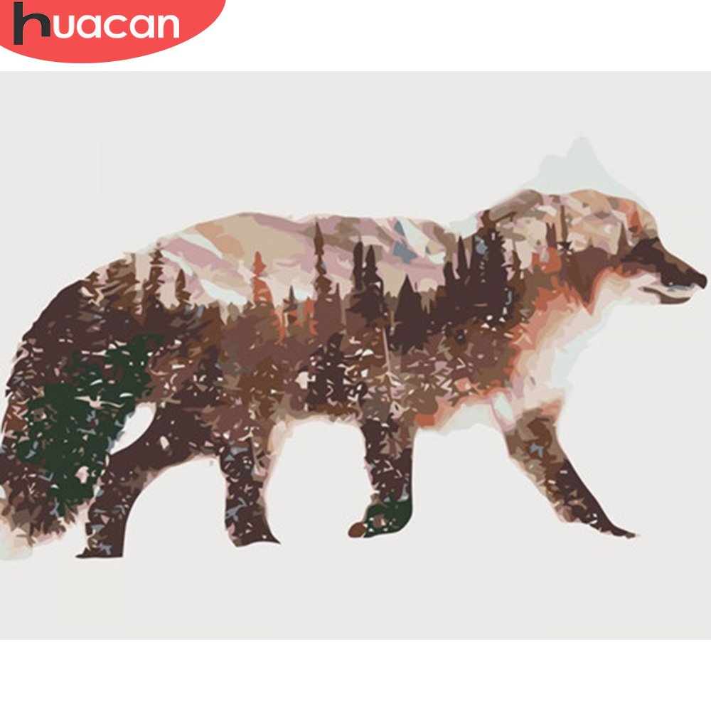 HUACAN Pictures By Numbers Fox Animals Oil Painting By Numbers Kits Drawing Canvas DIY Winter Scenery Hand Painted Home Decor