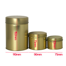 Custom Logo Gold Color Round Tea Tin Box