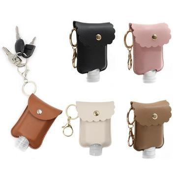 60ml Portable Refillable Bottle Empty Leakproof Plastic Travel Bottle with Leather Keychain Holder For Hand Sanitizer maquillaje