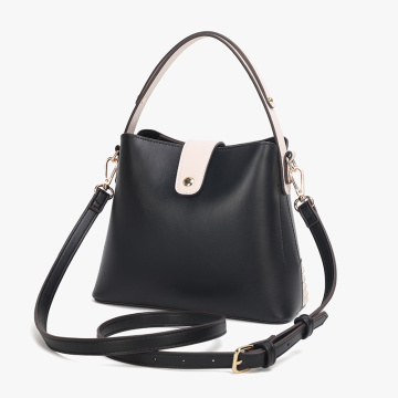 Leather Bucket Tote Bag With Shoulder Strap