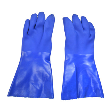 Blue PVC coated gloves 14''