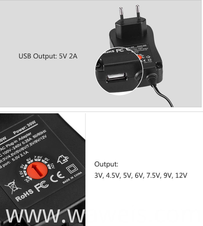 30w Eu Plug Universal Wall Adapter