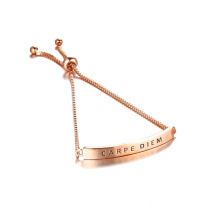 CARPE DIEM Rose Gold Engraved Bracelet Adjustable