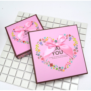 Pink chocolate box with paper divider