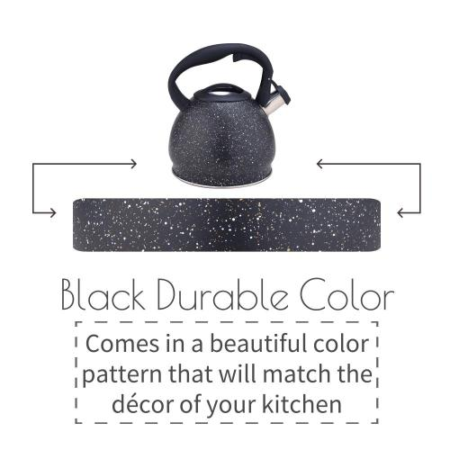 Black Durable Color Stainless Steel Whistling Tea Kettle