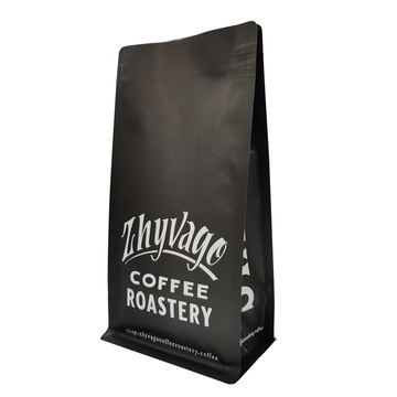 Metallized Matte Black Coffee Roastery Cacao Beans Bag