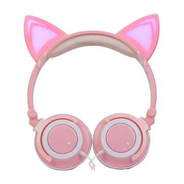 custom quality led Macaron cartoon cat ear headphones