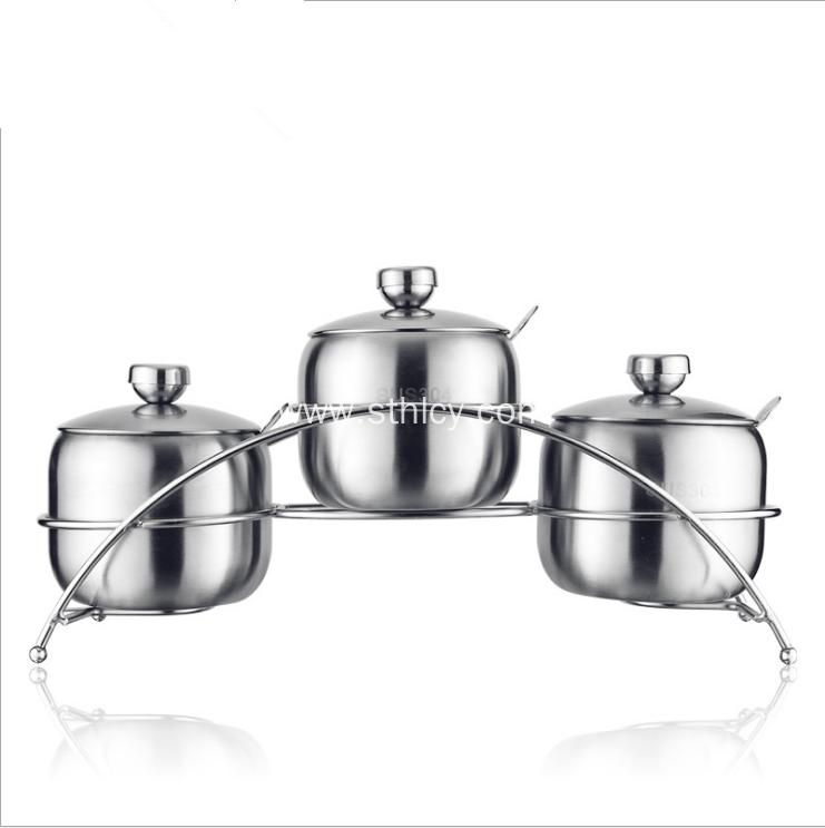 3 Pieces Stainless Steel Condiment Containers