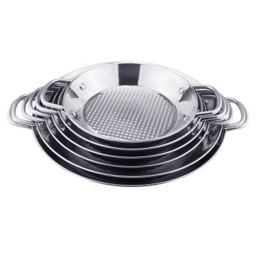 Copper color paella pan stainless steel seafood pan