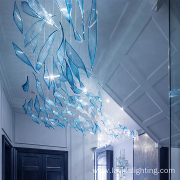 Blue art decorative big customized pendant lamp