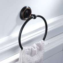 Black American kitchen and bathroom hardware pendant wall-mounted brass material round black bronze towel ring