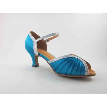 Blue satin salsa shoes for ladies