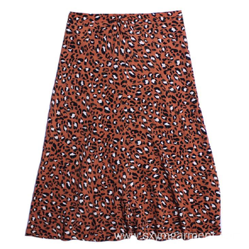 Fashion Ladies viscose lepard print skirt