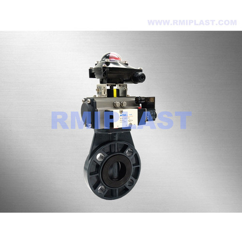 PVDF Pneumatic Butterfly Valve Double Acting Spring Return