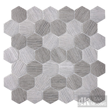 Hexagon Grey Wood Pattern Glass Mosaic Tile