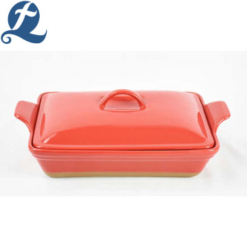 Wholesale Price China Ceramic Baking Handle Stoneware Bakeware With Lid