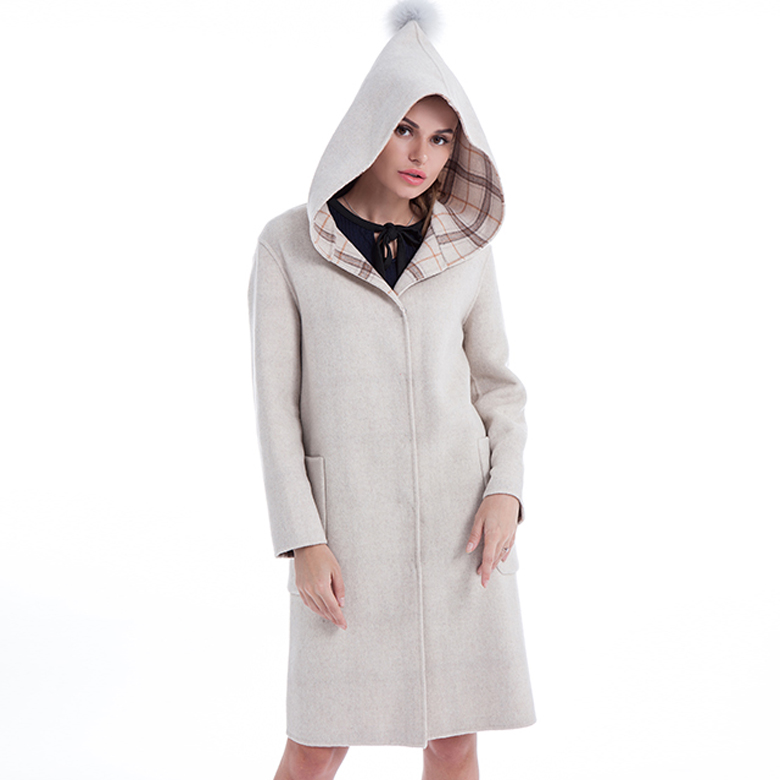 White cashmere wool winter coat
