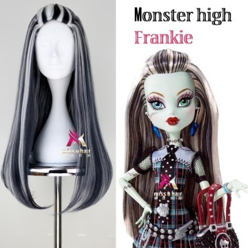 New wig frankie Monster High Frankie Cosplay Wigs 65cm Black Mix White Halloween Party Synthetic Cosplay Wig +wig cap