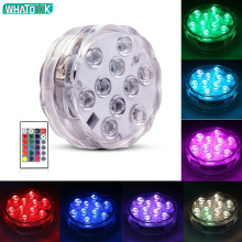 10led RGB Led Underwater Light Pond Submersible IP67 Waterproof with Iron Swimming Pool Light Battery Operated for Wedding Party